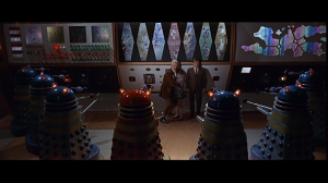 Our heroes surrounded by Daleks!