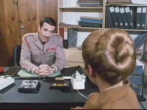 Brigadier Lethbridge-Stewart interviews Doctor Liz Shaw