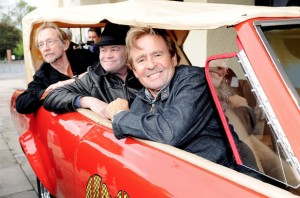 Peter Tork, Micky Dolenz and Davy Jones in the Monkeemobile