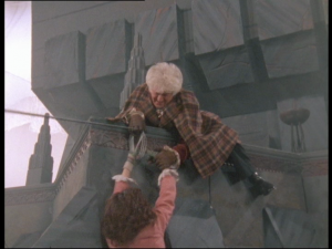 Actually the more realistic of the two times the third Doctor has to pull Sarah Jane up from a precipice in this story