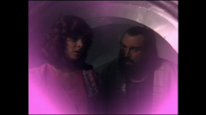 """This is what the romance plots looked like for Doctor Who in the 80s -- a pink-tinted soft-focus still with a voice-over saying """"by the way, they got married""""."""