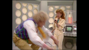 Bonnie Langford making Colin Baker exercise. Hooray for fat-shaming!