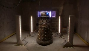 "The first shot in the new series of a Dalek. This story was a perfect ""last Dalek ever"" story, so of course they were never used again, because that would have spoiled this..."