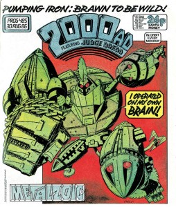 "a cover of 2000AD, with a robot saying ""I operated on my own brain!"""