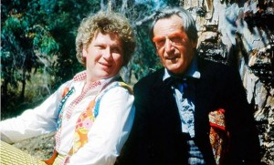 The Sixth Doctor with the Second Doctor, who has orange eyebrows thanks to his Androgum conversion