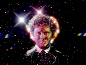 The opening titles to Colin Baker's season of Doctor Who, showing Baker's face on a starfield
