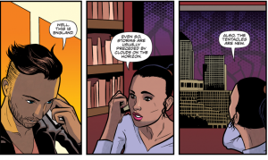 "Phone conversation between a man and a woman. In the first panel the man says ""Well, this is England"". In the second panel, the woman says ""Even so, storms are usually preceded by clouds on the horizon"". In the third panel, she looks out of the window at a strange skyline and says ""Also, the tentacles are new"""