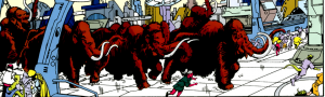 Mammoths run through a futuristic city, with panicked onlookers running away