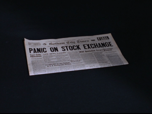 "Newspaper reading ""Panic on Stock Exchange"""