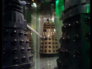 The incredibly shocking surprise reveal of the villains, in the cliffhanger to part one of Day Of The Daleks