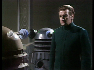 The Daleks talk to their Quisling puppet leader, Controller Getshotinpartfour.
