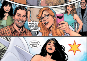 "Image: Various DC staffers, including Eddie Berganza, in the top panel. In the bottom panel, Wonder Woman, saying ""Hola! Man's world... it's time we had a talk"""