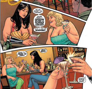 """Image: Beth Candy, a fat woman, talking with Wonder Woman at a bar. Candy says """"So let me get this straight. You're from a Paradise Island of science-fiction lesbians, with a side-order of bondage? Honey, I'll drink to that! Woo woo!"""", they clink glasses, and Wonder Woman replies """"science fiction what?"""""""