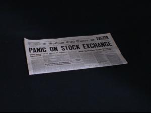 "Newspaper reading ""Panic on Stock Exchange"""