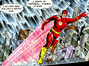 """The Flash running through rain, thinking """"I've lived here for only a month now...a month of happiness...a month of hope"""""""